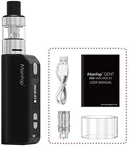 Gent 80W Sigaretta Elettronica Box Mod Svapo Kit, Ricaricabile 2200mAh Batteria/Top Fill 2.0ml Atomizzatore,No Nicotina, No Liquido Elettronico (Nero)