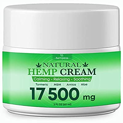 Hemp Pain Relief Cream - 17 500 mg - Relieves Muscle, Joint Pain, Lower Back Pain, Knees, and Fingers - Inflammation - Extra Strength Hemp Extract with MSM, EMU Oil, Arnica, Turmeric, 2 oz by BLOOMCROP