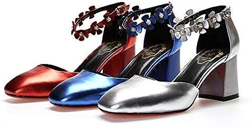 ZCYTM We zapatos de mujer Cabeza Cuadrada con Tacones Altos Flores Hebilla Sandalias de Moda Hueca