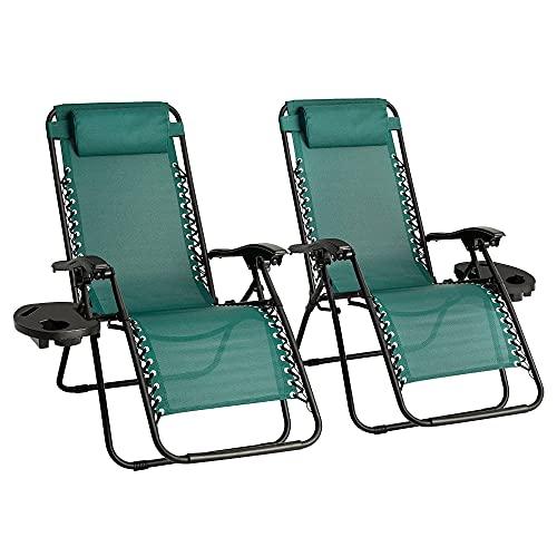 Zero Gravity Stuhl-Set mit 2 robusten Textoline-Outdoor- und Gartenliegen, Liegestuhl, Klappstuhl mit Getränkehalter und Kopfstütze Kissen (grün)