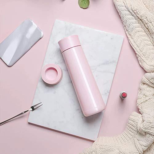 Isolierte Wasserflasche, multifunktionale LED-Temperaturanzeige-Thermosbecher, intelligente Trinkwasser-Erinnerungs-Reisebecher, doppelwandige Vakuumbecher-Flaschenthermo-Pink