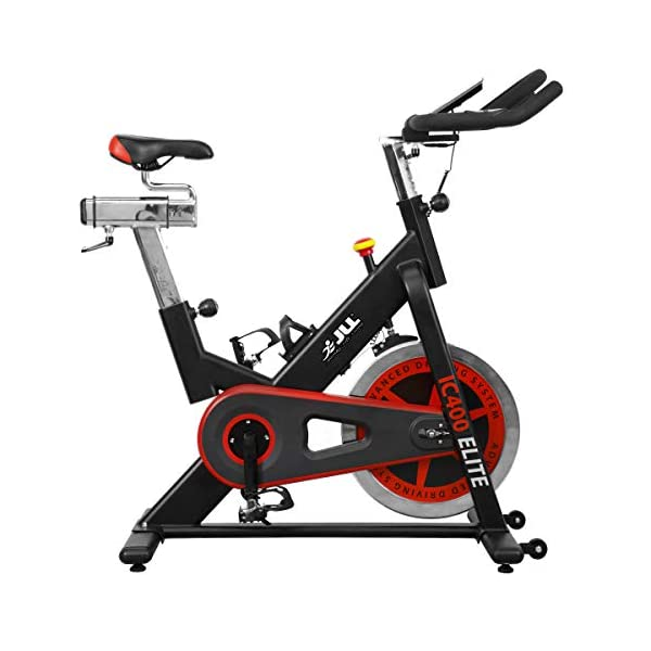 red and black JLL IC400 exercise bike with white background