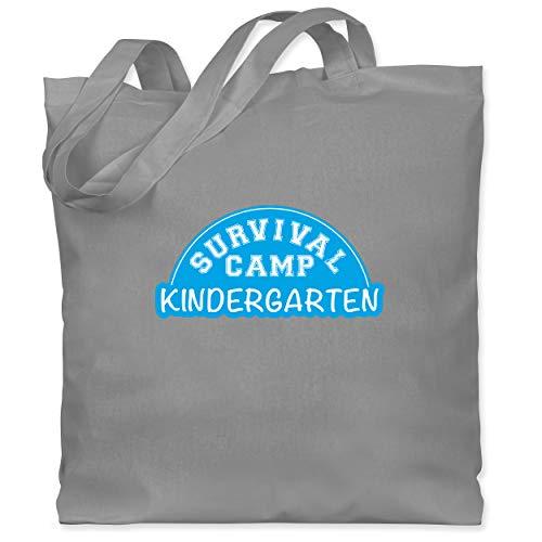 Shirtracer Sonstige Berufe - Survival Camp Kindergarten - Unisize - Hellgrau - Kind - WM101 - Stoffbeutel aus Baumwolle Jutebeutel lange Henkel
