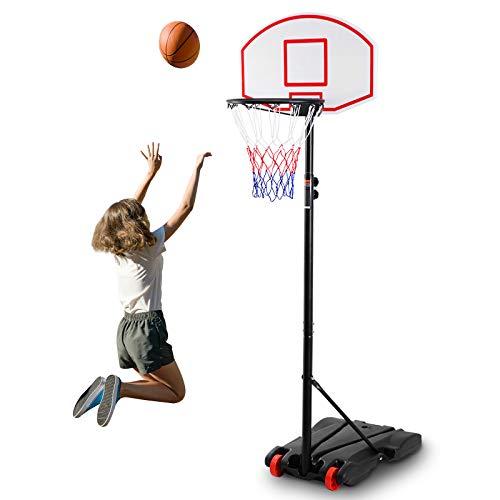 RELAX4LIFE Basketballständer höhenverstellbar 1,8–2 m, transportable Korbanlage mit Rädern, Basketballkorb mit Ständer, Basketballanlage PE-Rückwandhochfest, für Kinder und Erwachsene