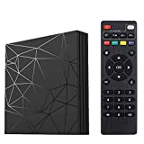Android 9.0 TV Box, Smart Box Vídeo Reproductor Multimedia H6 Quad-Core Cortex-A53 Mali-T720MP2 Soporte 6K H.265 100M LAN Enternet 2.4GHz WiFi, Caja de Televisor con USB 3.0 (2+16G)
