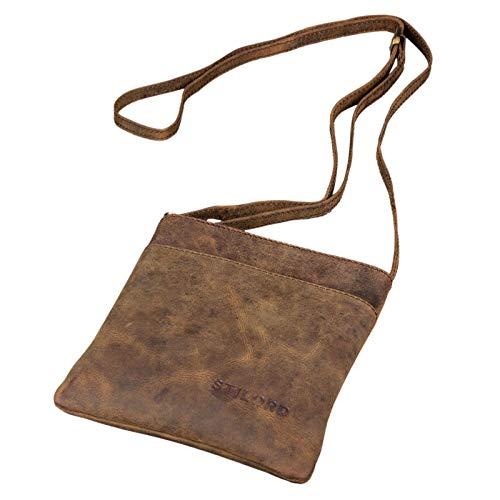 STILORD 'Lana' kleine Umhängetasche Damen 16 x 18 x 2 cm Ausgehtasche Schultertasche Handtasche echtes Büffel Leder Vintage Design Größe S, Farbe:Colorado - braun