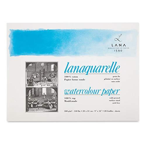 Lanaquarelle Watercolor Block - 9'' x 12'', Cold Press, 20 Sheets