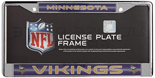 NFL Rico Industries Bling Chrome License Plate Frame with Glitter Accent, Minnesota Vikings