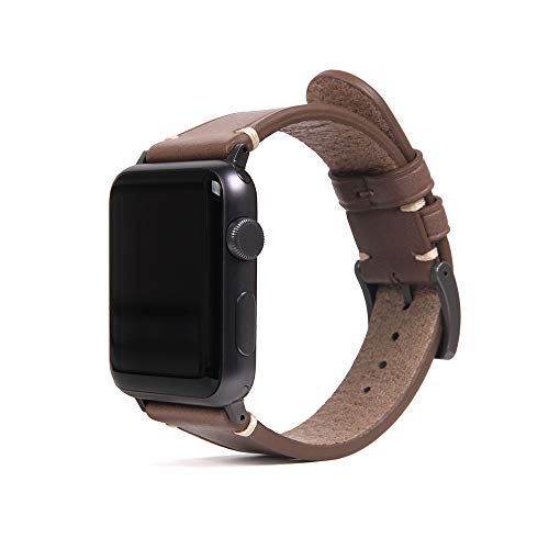 SLG Compatible with Apple Watch Band 42mm / 44mm, D7 Italian Buttero Leather Replacement Strap Feature Black...