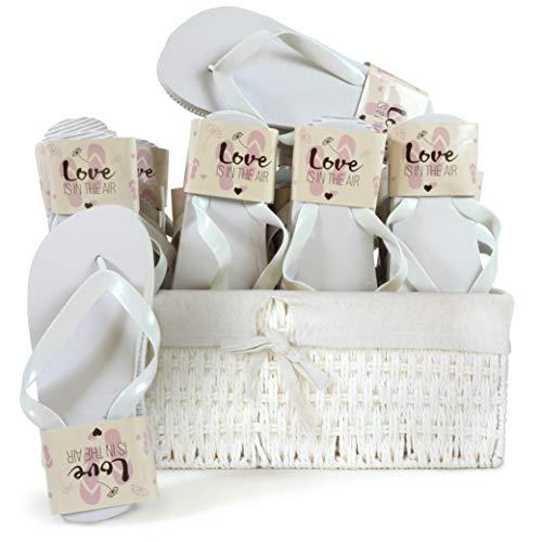 WeddingTree Flip Flops Hochzeit Damen weiß - Für Hochzeit Gäste Party - 20 Paare - 4 x S 12 x M 4 x L - Weidenkorb weiß innen Baumwolle