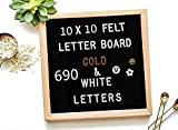 Felt Letter Board 10 x 10 inch Wooden Frame DIY Message Board Memo Menu Notice Kitchen Notes Board with 690...