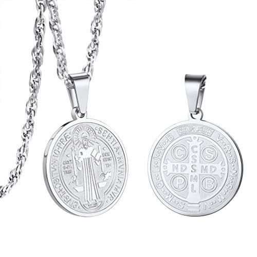 PROSTEEL Medalla de San Benito Colgante Religioso con Cadena Cubana de Acero Inoxidable