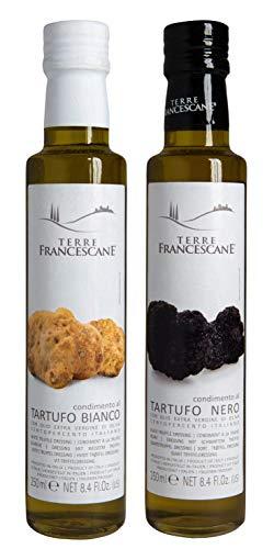 2er Probier-Paket Terre Francescane - Trüffel-Öl - Extra Natives Olivenöl mit dem Aroma von schwarzen und weißen Trüffeln (je 250 ml)