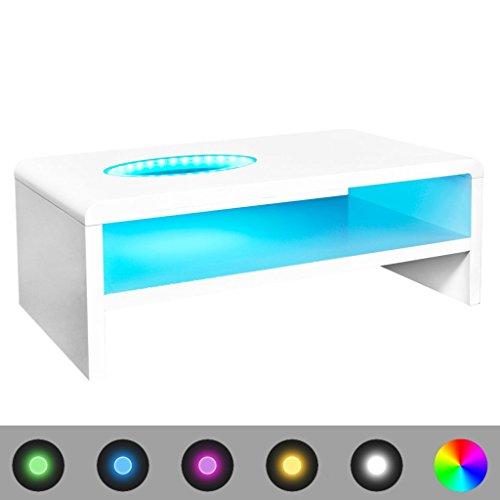 vidaXL Tavolino da Salotto per caffè Moderno Bianco Brillante con Luce LED 42 cm
