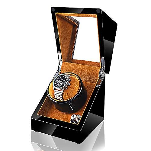 YF Caja de Reloj Enrollador Automático de Relojes, Caja Prueba Polvo para Relojes, Vitrina de Almacenamiento con Balancín para 1 Reloj Individual, Negro como un Regalo