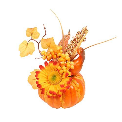 Kaerm Deko Kürbisse Halloween Kürbis Deko Künstliche Herbst Mini Kürbis Blättern Granatäpfel Sonnenblumen Tischdeko Kit Für Halloween Thanksgiving QJ702 OneSize