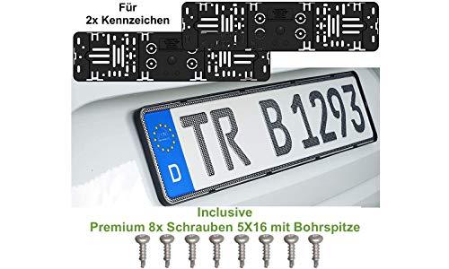 2X Stück Elegant Rahmenlos Kennzeichenhalter Für Auto Kennzeichen 520 x 110 mm + Incl 8x Schrauben 5X16 mit Bohrspitze