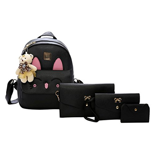 Rucksack Kolylong® 1 Set Drucken Rucksack PU-Leder Mädchen Schultertasche Schulranzen für Studenten College Damen Daypack Messenger Handtaschen Süße Tasche Backpack 4 PCs (Schwarz)