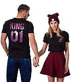 Camisetas Queen y King de manga corta para dos, 2 unidades Color negro. Rey-Medium+Reina-Medium
