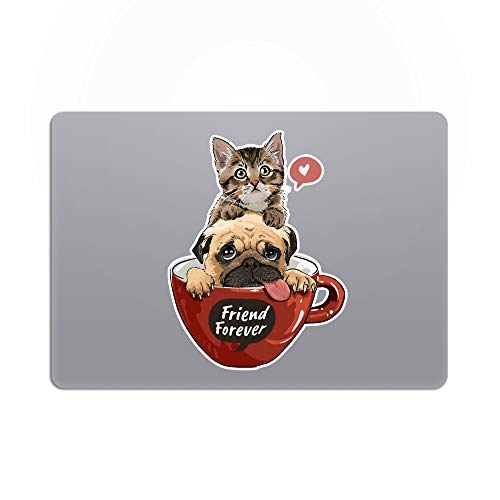 Laptop Stickers MacBook Decal - Removable White Vinyl - Cat & Dog Best Friends Animal Decal Skin for Apple MacBook Air Pro 13 15 inch Mac Retina - Decorative Sticker by Artsybb