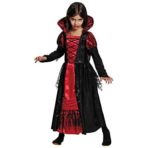 NET TOYS Edles Vampirin-Kostüm für Mädchen - Schwarz-Rot 152, 10 - 12 Jahre - Hinreißendes Kinder-Verkleidung Vampirkleid Gräfin Dracula - Perfekt angezogen für Halloween & Mottoparty