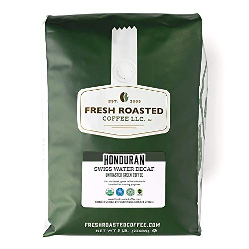 Fresh Roasted Coffee, Unroasted Swiss Water Decaf Honduran, Organic Fair Trade Kosher RFA, 5 Pound