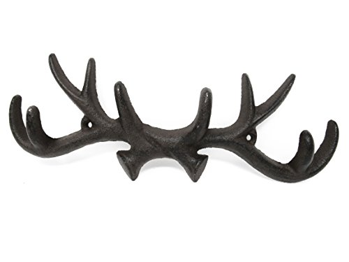 Deer Antler Cast Iron Wall Hooks & Scottish Terrier Dog Door Stopper - w/ Screws & Anchors, Shabby Chic Vintage Wall Mounted, Holds Coats, Bags, Hats, Towels, Scarf's- by Ashes to Beauty