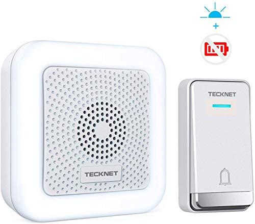 TECKNET Keine Batterie Benötigt Funk Türklingel, Kabellose Türklingel Wasserdicht Wireless Türklingel mit LED-Nachtlicht, 5 Lautstärkestufen, 32 Klingeltönen, LED Anzeige, 492ft