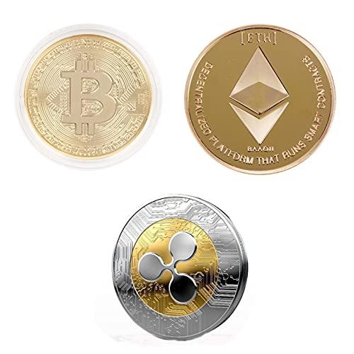 BODYA Vergoldete Bitcoin-Münze Golden Iron ETH Ethereum Miner Coin Ripple Coin XRP CRYPTO Sammlergeschenk BTC-Münzen Kunstsammlung Physisch