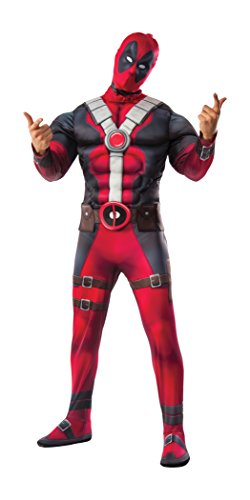 Marvel Men's Deadpool Deluxe Muscle Chest Costume and Mask, Multi, X-Small