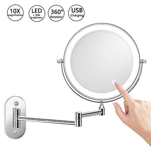 Wandgemonteerde verlichte make-upspiegel 8 Inch 1X / 10X vergrotende make-upspiegel met LED-verlichting, dubbelzijdig dimbaar, 360 graden schermaanraking, badkamer scheerspiegel, USB oplaadbaar