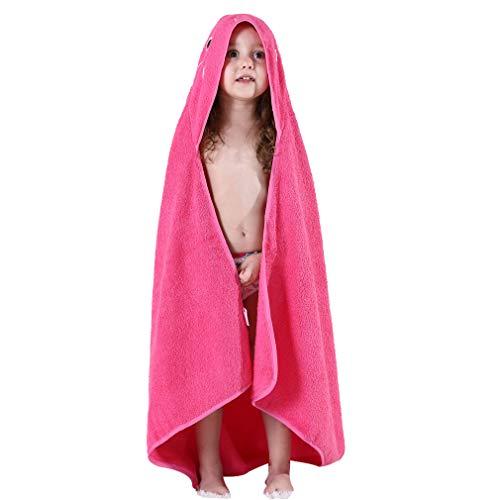 MICHLEY Niños Encapuchado Bebé Toalla de baño Animal Sin mangas Algodón Albornoz Para Niños Niñas 0-6 Años(Rosa)