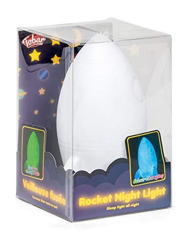 LED Dekolampe Rakete, Dekolicht mit Farbwechsel in Regenbogenfarben, ca. 15 cm groß, batteriebetrieben, dekorativer Blickfang für Ihr Zuhause