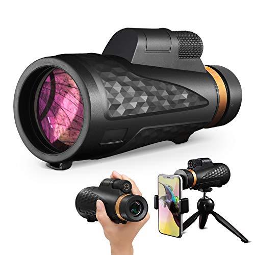 最新版18X62高倍率単眼望遠鏡 スマートフォン用望遠レンズ iPhone/Android多機種対応 スマートフォン用スピード編成バードウォッチング ブラック三脚付き 射撃屋外天体観測コンサートや運動会用
