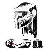WLBRIGHT Predatore Pieghevole Casco Iron Blood Guerriero Motocross Casco Casco Personaggio Moto Flip Up Casco Moto Full Face Helmet,M