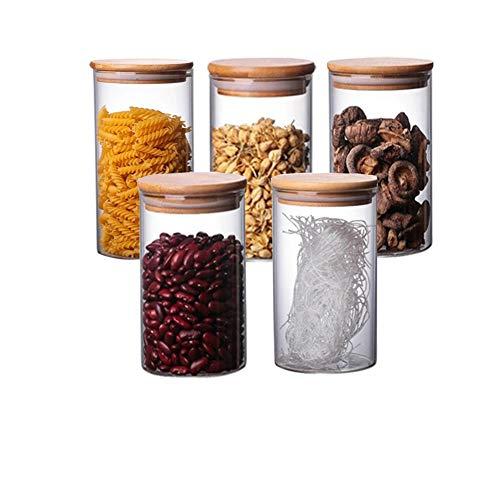 Vorratsgläser, 300 ml, luftdicht, Set mit 5 Gläsern aus Glas mit Deckel aus Bambus, zur Aufbewahrung von Gewürzen, Bohnen, Bonbons