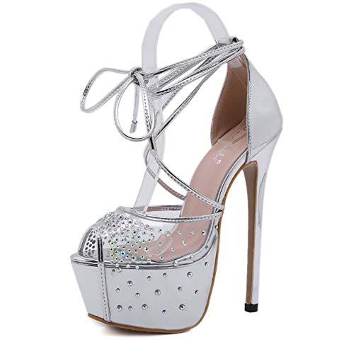 Femmes Peep Toe Sandales Nouveau Charme Strass Plate-Forme À Talons Hauts Chaussures De Soirée Sangle De Mode Chaussures De Mariage,Argent,35