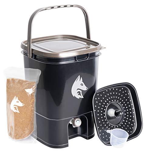 FairFox Bokashi Eimer Komposter 19 L aus 100% recyceltem Kunststoff inkl. 1 kg Effektive Mikroorganismen Ferment I In nur 2 Wochen von Biomüll zu Kompost-Dünger - Ohne Gerüche, Ohne Schimmel