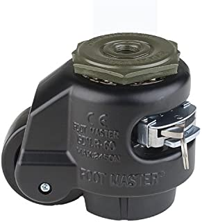 """FOOTMASTER GDR-60S-BLK Nylon Wheel and NBR Pad Ratcheting Leveling Caster, 550 lbs, Stem Mounted with 0.472"""" Mounting Hole Diameter, Black"""