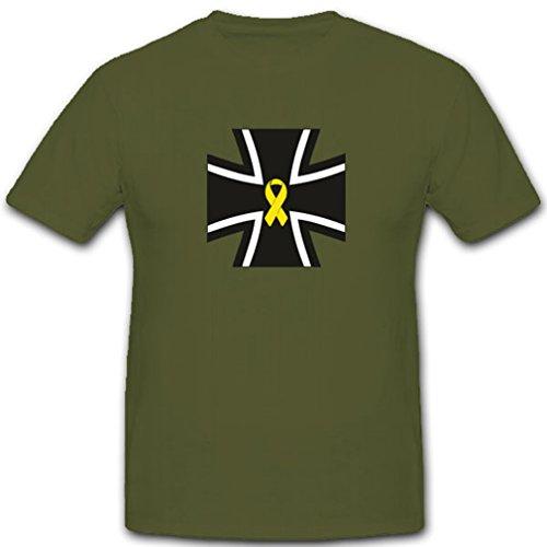 Gelbe Schleife Bw Kreuz Wappen Emblem Solidarität Militär Bundeswehr-Kreuz- T Shirt #3968, Farbe:Oliv, Größe:Herren XXL