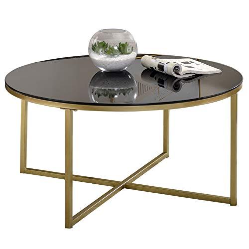 IDIMEX Couchtisch Noelia rund, Wohnzimmertisch Sofatisch mit Tischplatte aus Glas in schwarz, gekreuztes Fußgestell in Gold