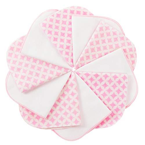 mimaDu Molton Flanell Babywaschlappen aus 100% OEKO-TEX Baumwolle 10er Set - 25x25 cm - Flanelltücher, Kinderservietten - extra weich und flauschig- vintage rosa weiss.