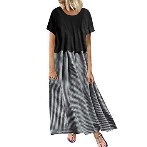 showsing-vrouwen kleding Womens Vintage Katoen Linnen Jurk, Plus Size Borduurwerk Kleur Maxi Jurken, Zomer Lange Jurk Plain Korte Mouwen, Bohe Beach Jurken