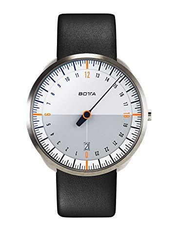 BOTTA 24-Stunden-Einzeigeruhr Herren Schweizer Quarzwerk mit Lederarmband UNO 24 (40 mm, Weiß/Orange)