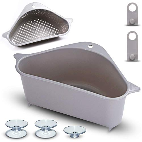 Sink Strainer Basket – Multi Purpose Corner Sink Basket Extra Strength Hanging Storage Rack for Kitchen No Drill Soap Box Organizer Shelf for Peeling Straining Compact Extra Suction for Better Hold