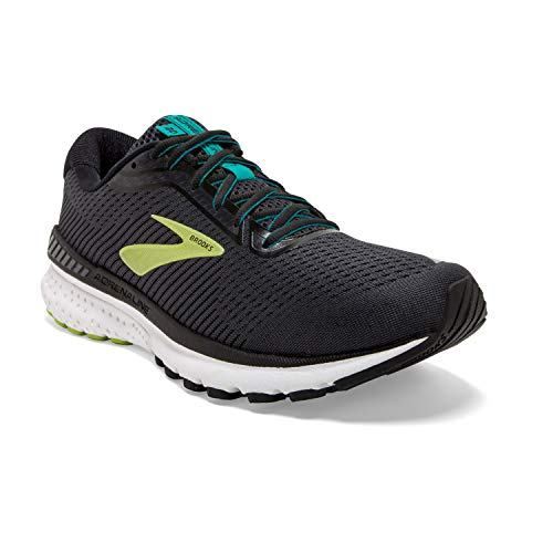 Brooks Mens Adrenaline GTS 20 Running Shoe - Black/Lime/Blue Grass - D - 10.5