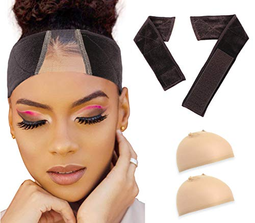 2020 Upgrade New Lace Wig Grip Band with 2 Wig Caps,Elastic Non Slip Adjustable Velvet Wig Headband for Women,Comfortable Breathable Frontal Swiss Lace Wig Hair Scarf(Brown)