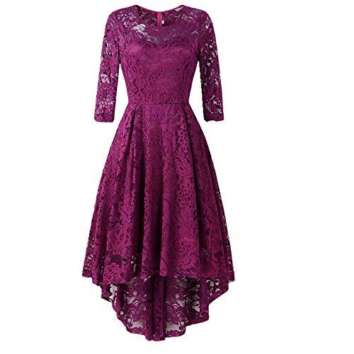 Vestido de otoño para mujer con cuello redondo alto y bajo columpio Morado violeta 40