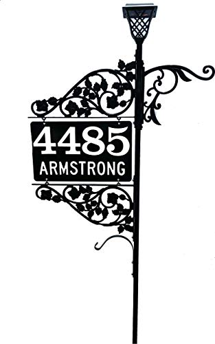 """Reflective Numbers Address Sign - Emergency Driveway Marker Double Sided Address Sign with 48 or 60"""" Pole, Solar Light and plant hook that is 911 Visible"""