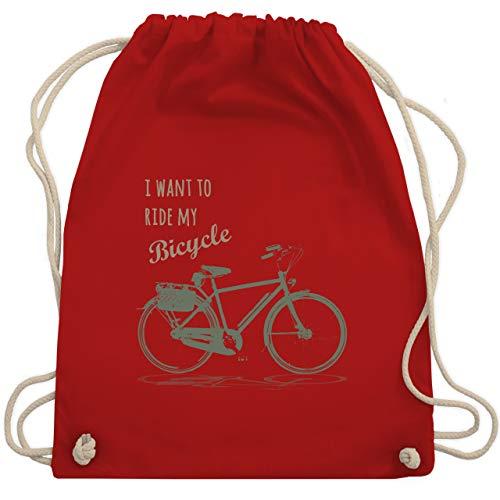 Shirtracer Vintage - I want to ride my bicycle - Unisize - Rot - Motto - WM110 - Turnbeutel und Stoffbeutel aus Baumwolle